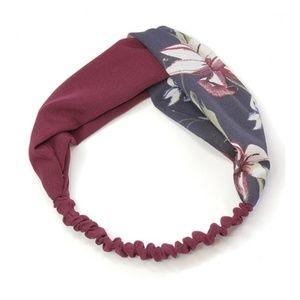Maroon Fashion Retro Floral Fabric Headband